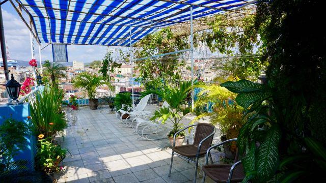 Dachterrasse mit Pflanzen und Schaukelstühlen