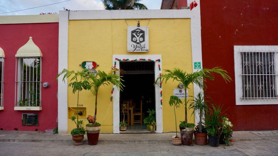 Bunte Häuser in Yucatan