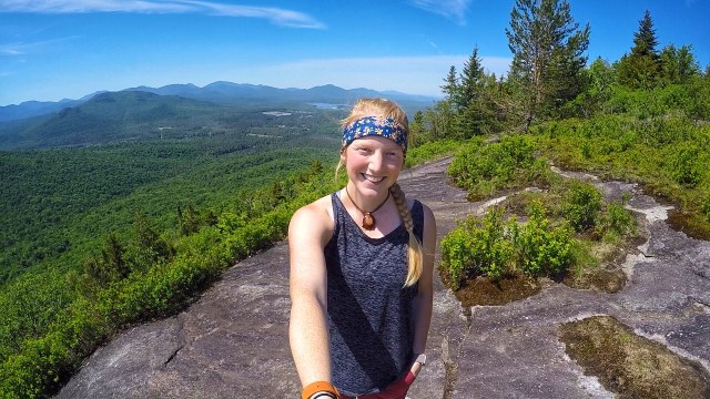 A Girl smiles on Haystack Mountain