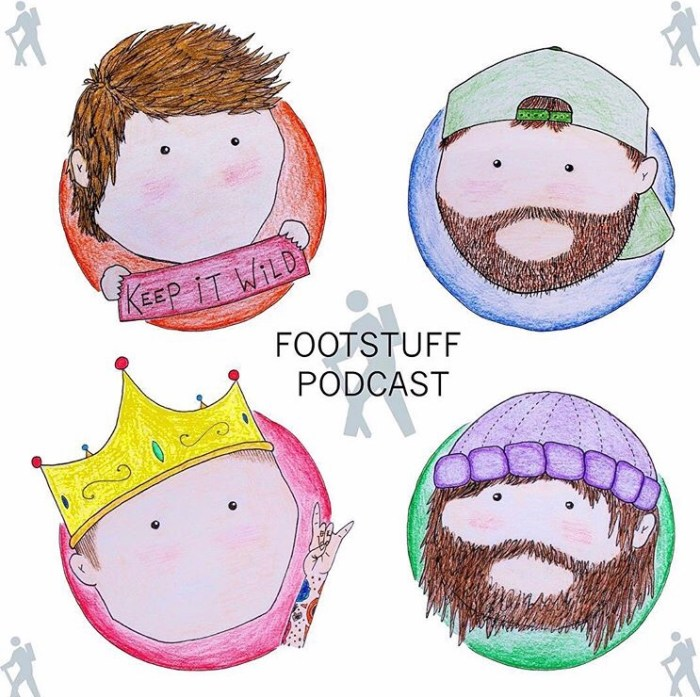 Scribble drawings of the four guys from foot stuff podcast