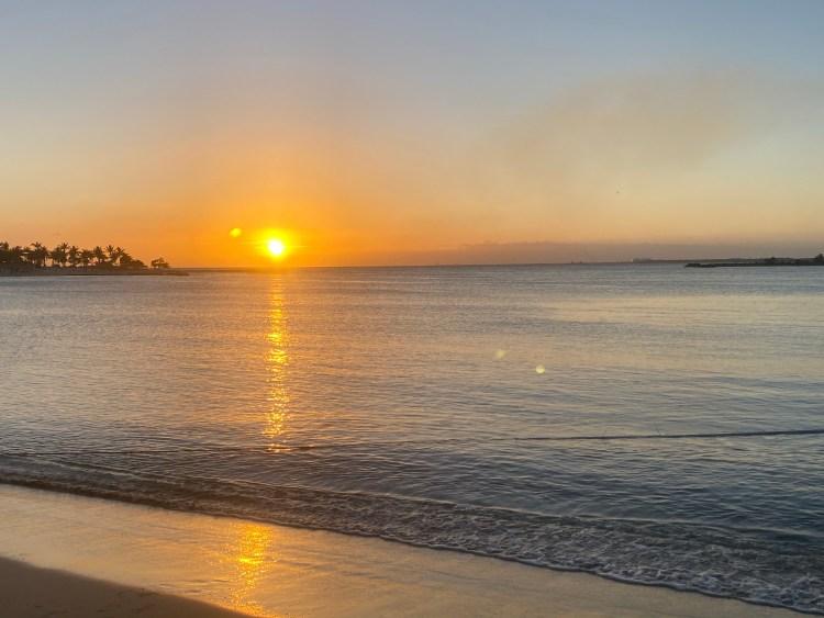 A tropical beach sunset