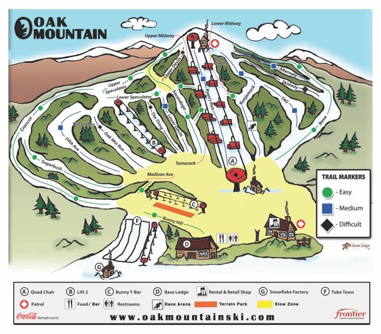 Oak Mountain Ski Trail Map