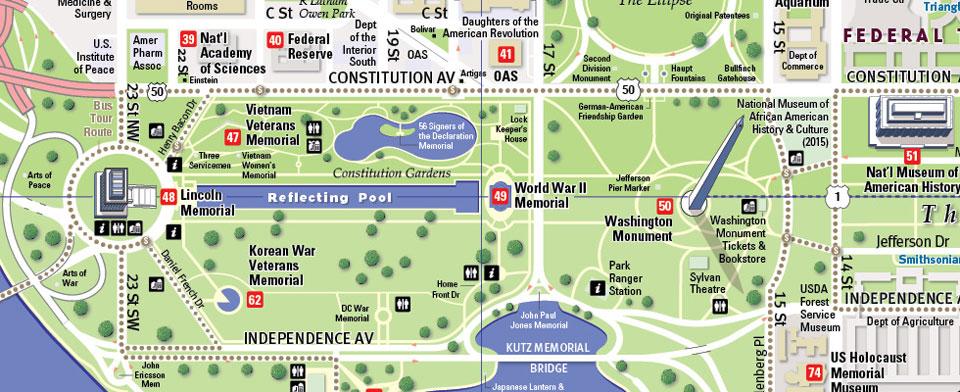 map washington visite mémoriaux