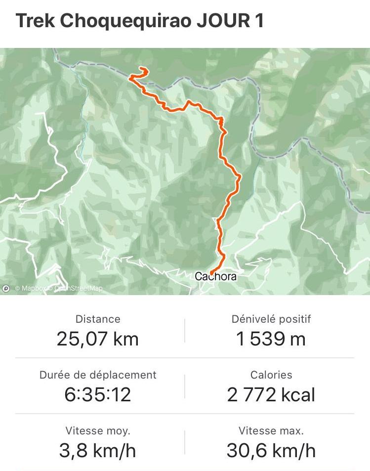 Descriptif trek Choquequirao jour 1