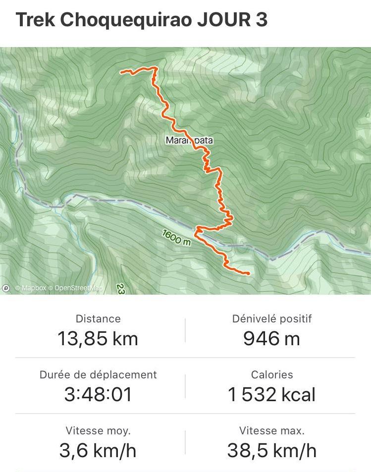 Itinéraire et map jour 3 trek Choquequirao