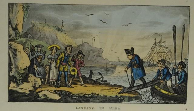 combe and cruikshank life of napoleon landing at elba
