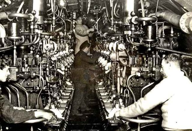 World War 1 Submarine Engine Room Interior