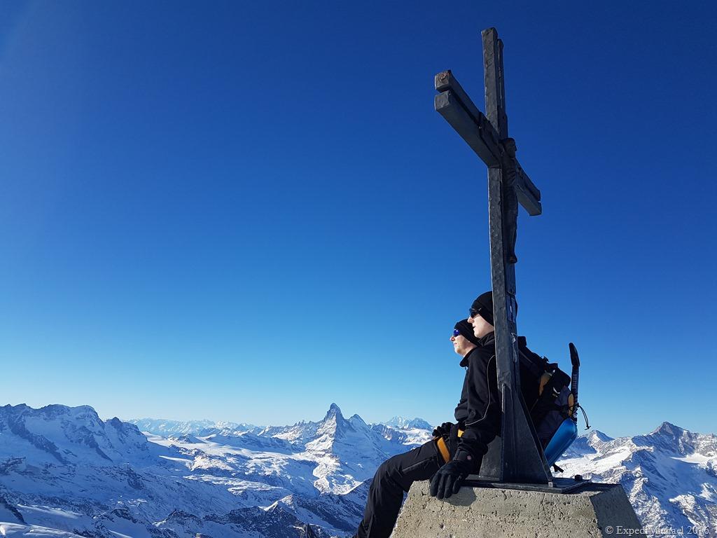 snowshoeing to the Allalinhorn mountain in Saas Fee Switzerland - Summit