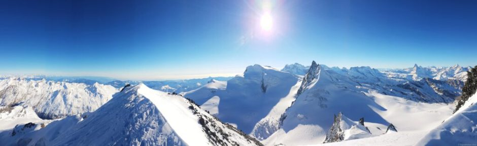 Panorama after snowshoeing to the Allalinhorn in Saas Fee, Switzerland