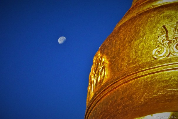 Golden Taung Kwe Pagoda Loikaw Myanmar and moon