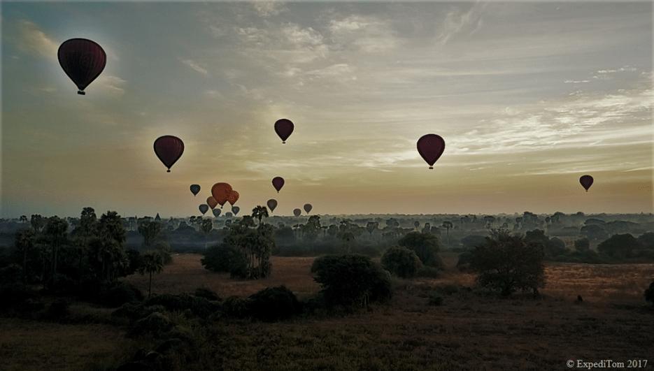 Hot air balloons over bagan during sunrise