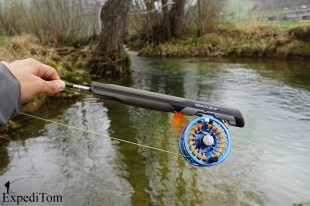 Guidestream fly reel on the Arctic Silver fly rod