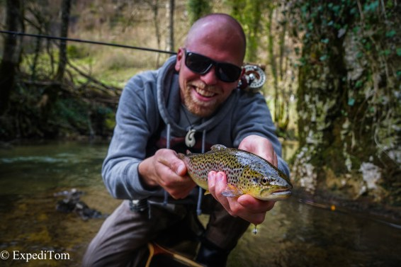 Claudio with a stunning brown trout