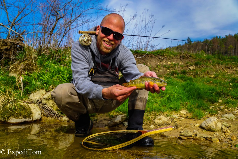 Small Stream Fly Fishing in Switzerland with Claudio and a brown trout
