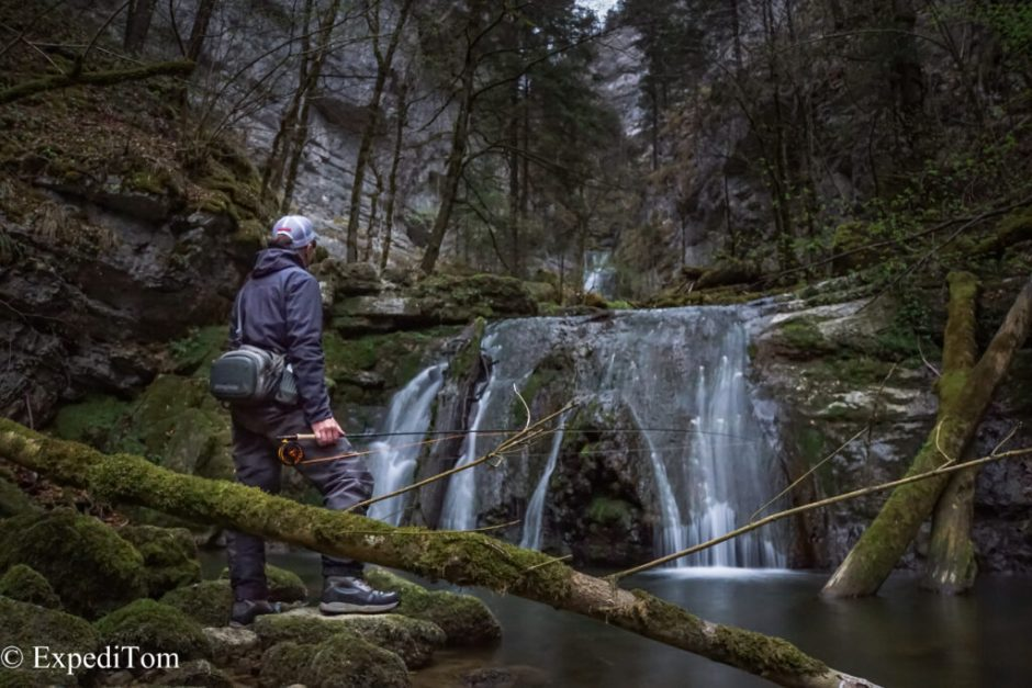 The sudden end of a promising exploration of a Swiss mountain stream due to an impassable waterfall