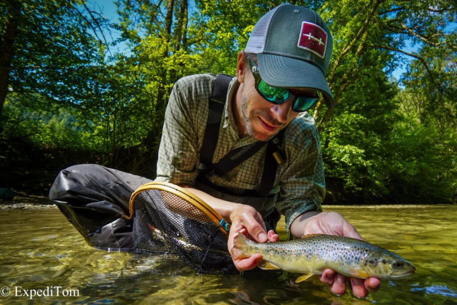 André with his first trout of the fly fishing exploration in Bern