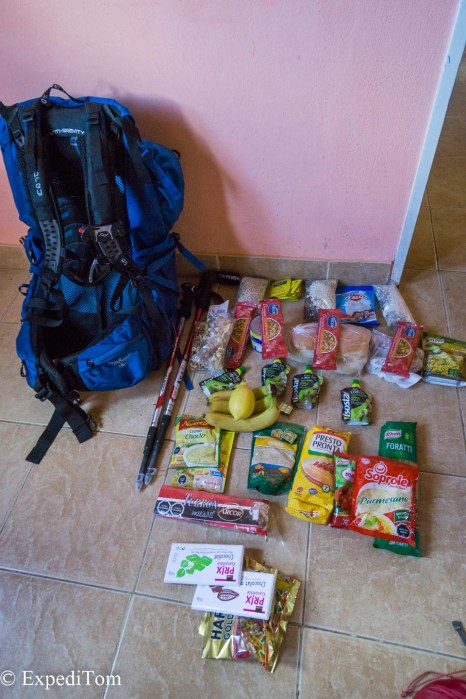 Huemul Trek 2018 packing list gear preparation food trekking hiking tramping foods Argentina