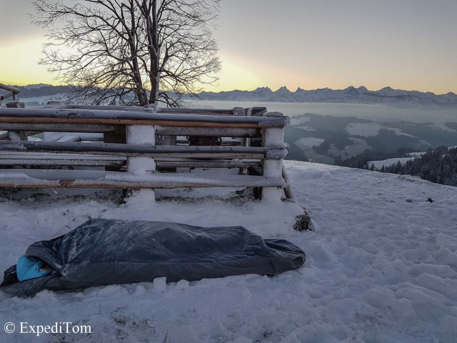 Winter Sleeping setup while photographing the Geminid meteor shower