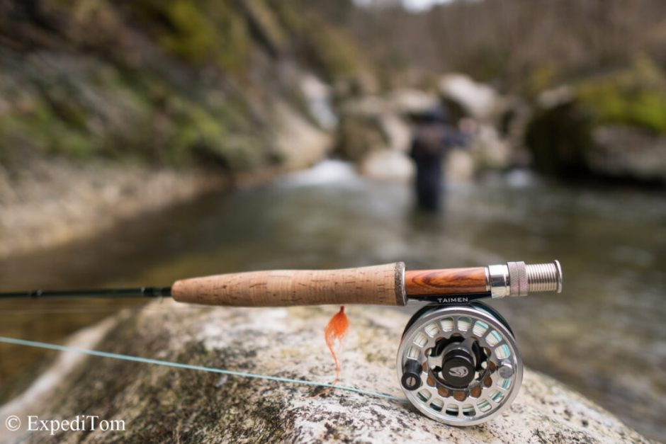Light and short tackle for small stream fly fishing in Switzerland
