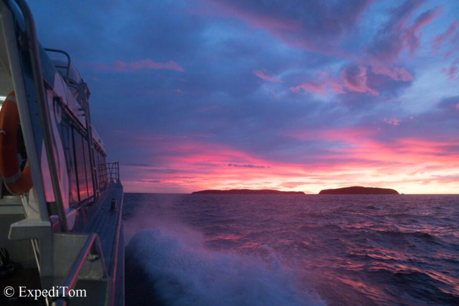 Morning ferry return towards Bluff with amazing sunrise