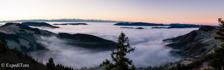 Swiss Alps panorama beyond the fog