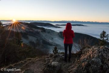 Swiss Alps Panorama beyond the fog at sunrise