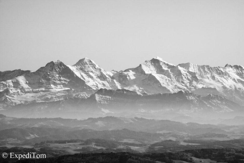 Swiss alps black&white
