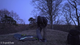 Setting up the bivouac