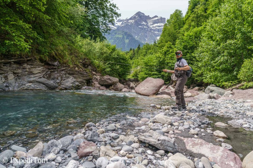 Fly Fishing crystal clear mountain streams during our VW Bus trip