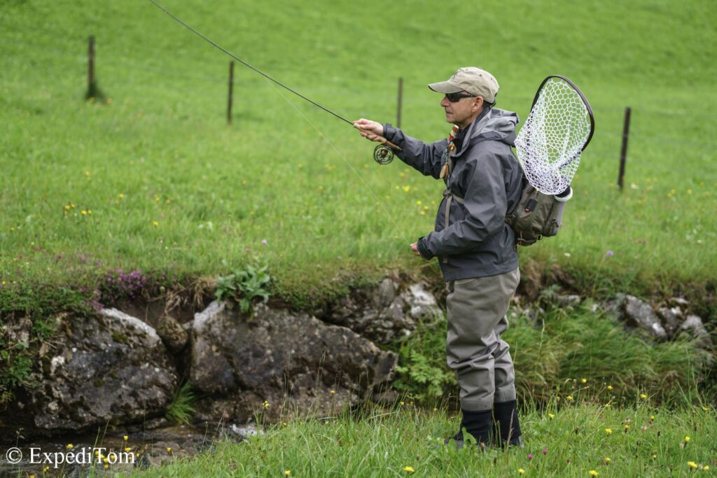 Fly fishing guiding in the Kanton Glarus Switzerland with Peter