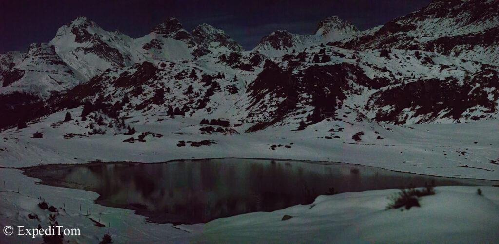 Moonlit mountain landscape
