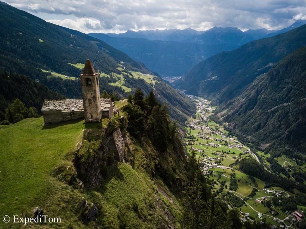 Alp San Romeiro throning high above Val Poschiavo facing towards Tirano, Italy