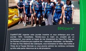 Journée Incentive Kayak de mer Calanques urbanisées Marseille