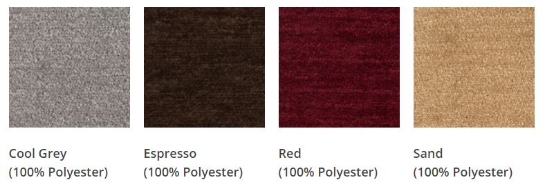 Crypton fabric swatches from left to right: cool grey, espresso, red, and sand.