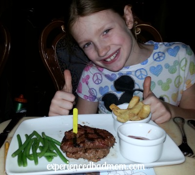We enjoyed excellent food, like the kid's steak, at Be Our Guest restaurant.