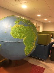 I love this huge globe in the middle of the hallway
