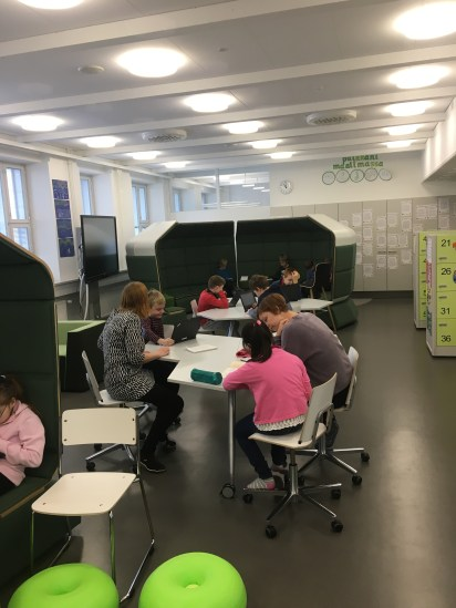 Students can often be seen working in small groups with the teachers
