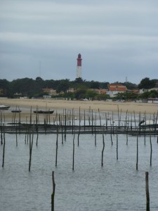 View of Cap Ferret lighthouse from Arcachon Bay ferry
