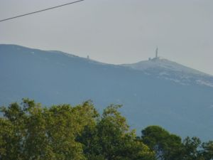 View of Mont Ventoux on a cloudy morning