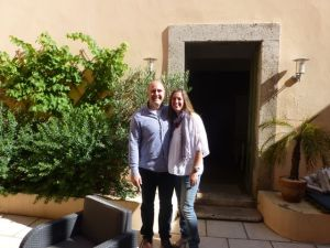 My husband Russ with Marlene in front of Maison Allene