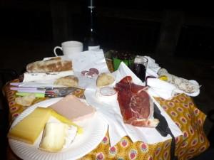 Our picnic dinner at Villa Noria