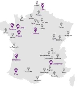 Self-service bike rental locations in France
