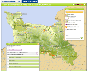 TER+bike interactive map for Basse Normandie