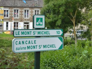 Signs show the way to Mont Saint Michel