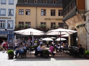 Cafes in Strasbourg on a sunny spring day