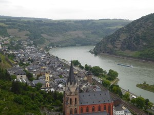 The view along the Rhine from Schoenburg Castle in Oberwesel