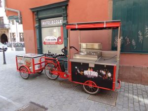 Even the hot dog vendor travels by bike in Strasbourg!
