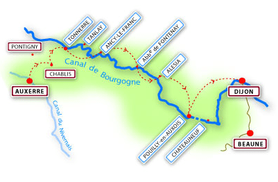 Pick up/drop off points along the Burgundy Canal