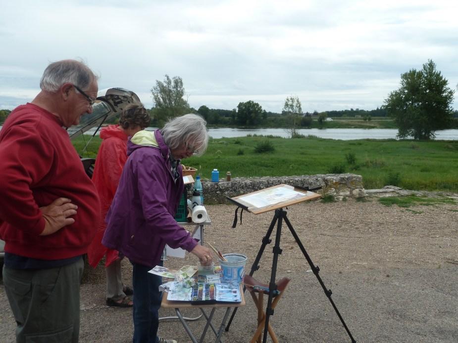 Artists along the Loire bike path near Menars