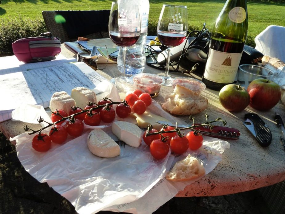 Simplicity at its best: a twilight picnic dinner surrounded by the Cote du Beaune vineyards